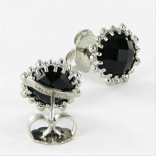 Anzie Anzie Dew Drop Snowflake Drop Stud Earrings Black Onyx Sterling Silver