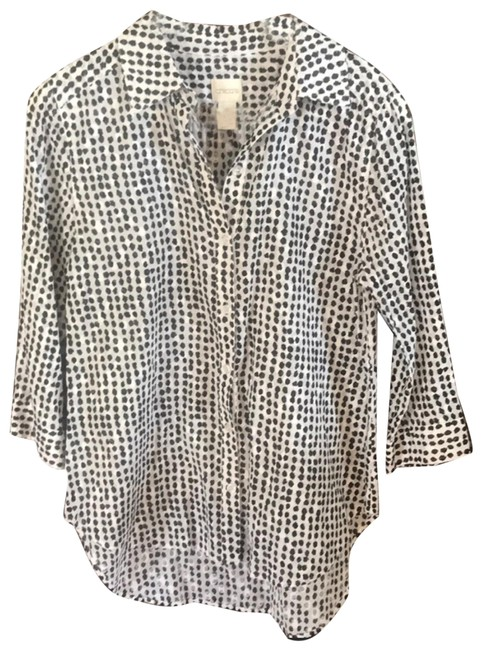 Item - Black and White Button-down Top Size 4 (S)