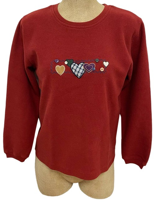 Item - Embroidered Hearts Red Sweater