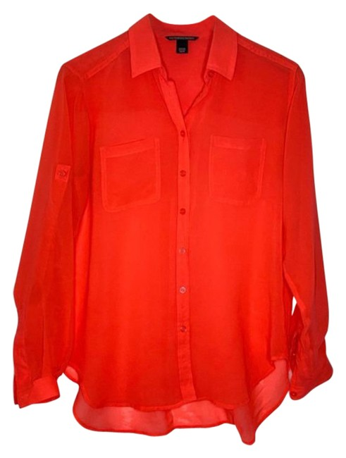 Item - Red Coral Sheer Button Down Boyfriend Blouse Size 8 (M)