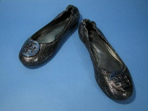 Tory Burch Black Silver Faux Multi-Color Flats
