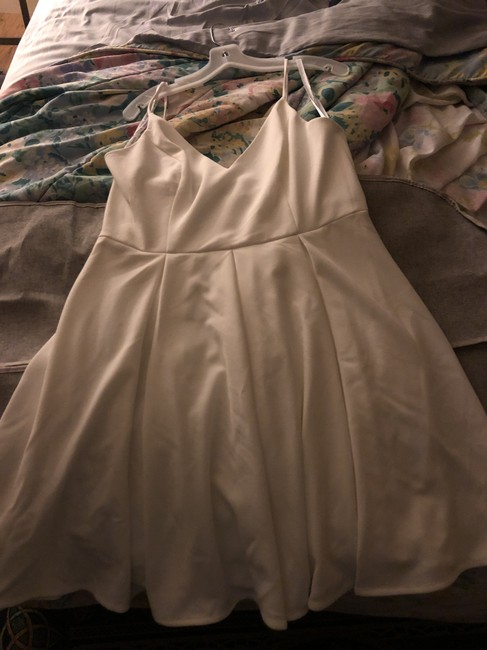 Item - Off White Polyester Spandex Ds870158 Casual Wedding Dress Size 14 (L)