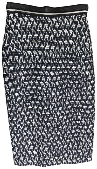 Item - Navy Blue & White Woven Texture Pencil Skirt Size 4 (S, 27)