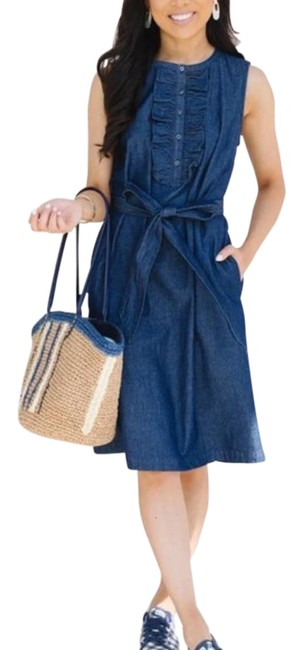 Item - Blue Belted Sleeveless Chambray Ruffle Shift Mid-length Short Casual Dress Size 4 (S)