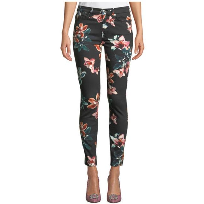 Item - Black Tropical Floral-print Ankle Skinny Jeans Size 24 (0, XS)