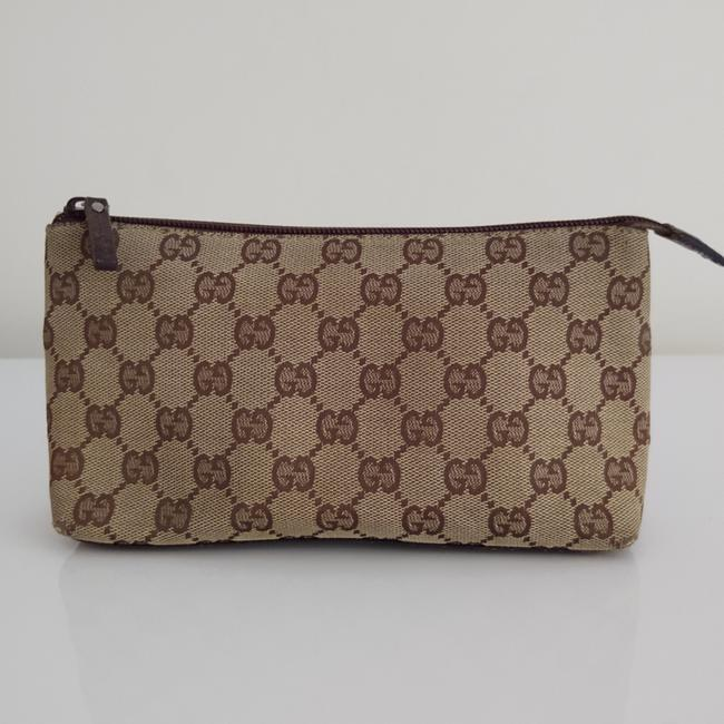 Item - Brown Canvas Pouch Cosmetic Bag