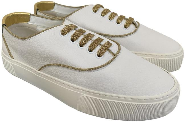 Item - White Venice Leather Metallic Gold Low Top Sneakers Size EU 37 (Approx. US 7) Regular (M, B)