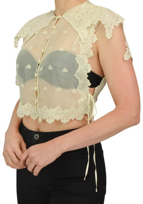 Item - Cream 34(2) Capelet Sheer Lace Blouse Size 2 (XS)