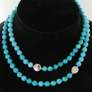Anzie Anzie Boheme Star Pear Long Necklace Turquoise Amazonite Wt Topaz 925