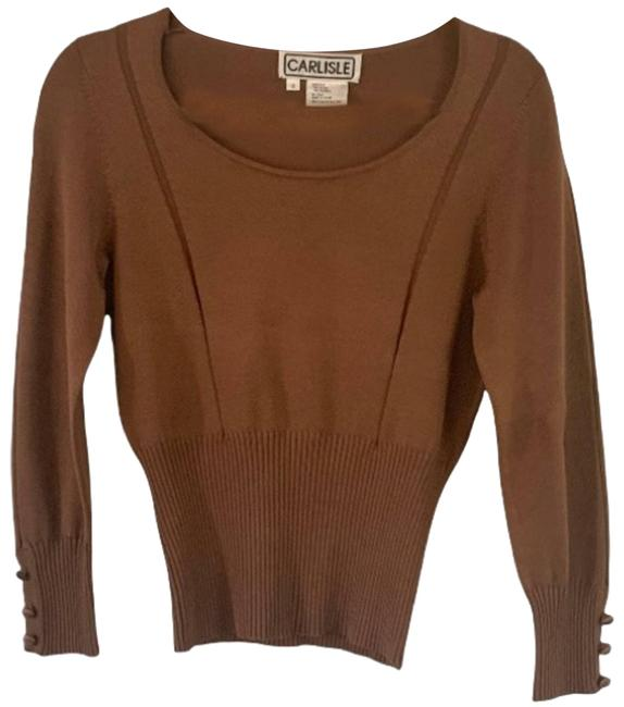 Item - Silk Blend Ribbed Rust Size Small Long Sleeves Brown Sweater
