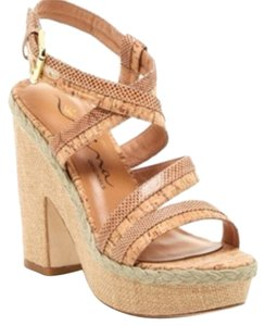 Nina Shoes Natural Cork-Camel-Snake Platforms