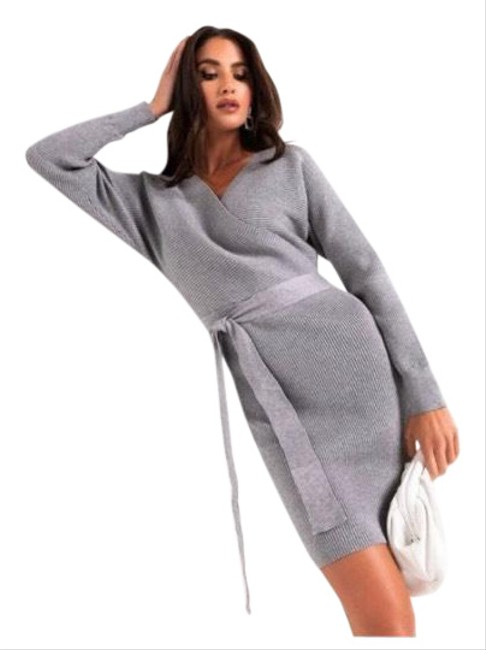 Item - On My Own Time Long Sleeve Wrap Front Mini Mid-length Short Casual Dress Size 6 (S)