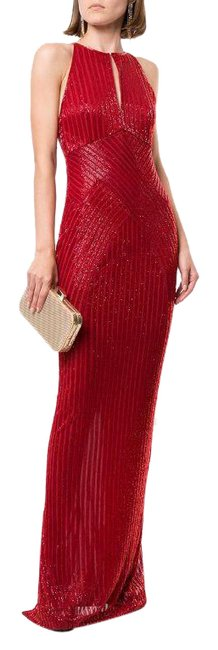 Item - Red Ainsley Halterneck Cross-front Beaded Gown Cocktail Dress Size 4 (S)