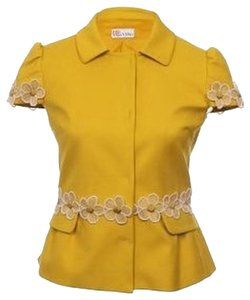 RED Valentino Red Valentino Short Sleeve Cotton Flower Summer Yellow Jacket
