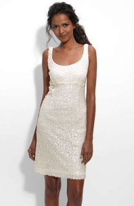 Suzi Chin for Maggy Boutique White Paillette Tank Cocktail Sexy Wedding Dress Size 10 (M)