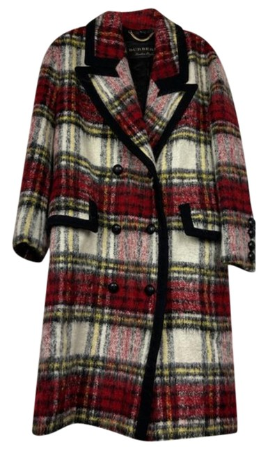 Item - Red Tartan Plaid Mohair Double Breasted Coat Size 8 (M)