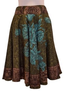 Piazza Sempione Full Circle Silk Floral Skirt Green