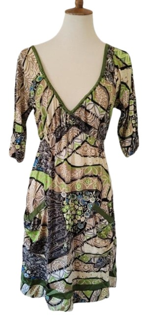 Item - Mutli Color Green Abstract Silk Short Casual Dress Size 6 (S)