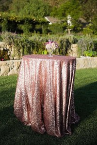 120' Round Blush Sequin Tablecloth Bling Glam Sparkle Wedding Clearance