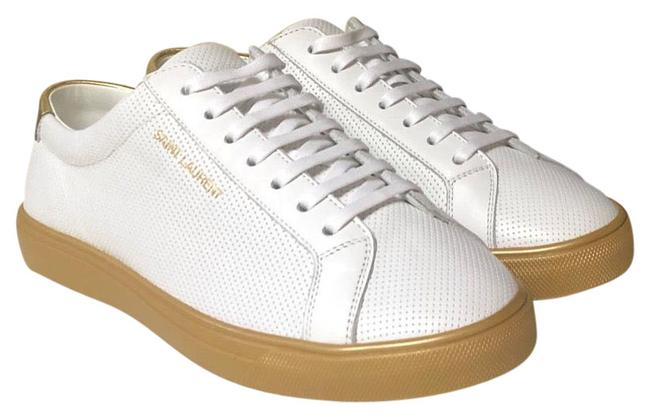 Item - White/Gold Andy Perforated Leather Sneakers Size US 8 Regular (M, B)