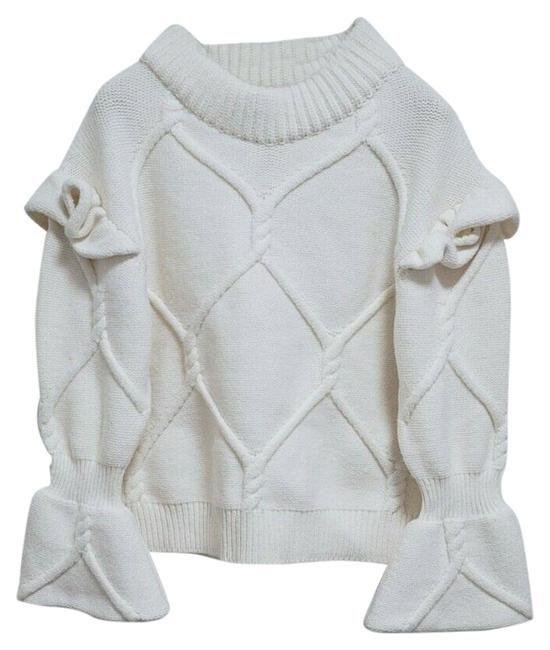 Item - Cable Knit Wool Cashmere with Ruffle Bell Sleeves Cream Sweater