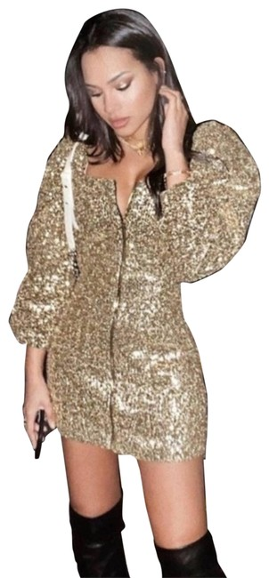 Item - Gold Sequin Zip Front Mini Short Night Out Dress Size 8 (M)
