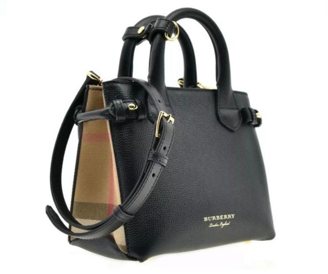 Item - Tote Baby Banner House Check Derby Black Leather Cross Body Bag