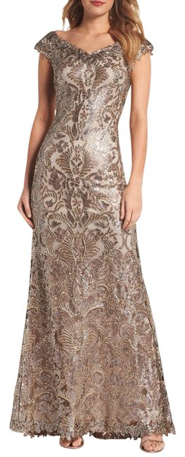 Item - Bronze Corded Sequin Gown Long Formal Dress Size 10 (M)