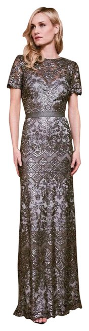Item - Silver Sapa Lace Sequin Belted Gown Long Formal Dress Size 8 (M)
