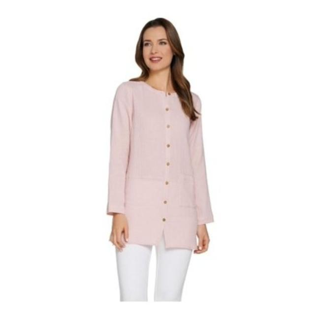 Item - Pink Women's Crinkle Texture Tunic Button-down Top Size 0 (XS)