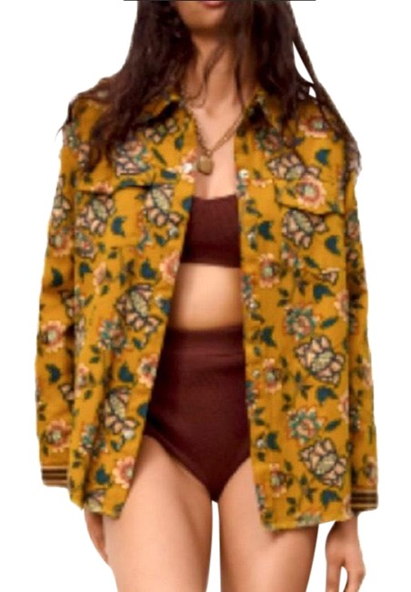 Item - Mustard Teal Maroon Bohemian Embroidered Overshirt Button-down Top Size 14 (L)