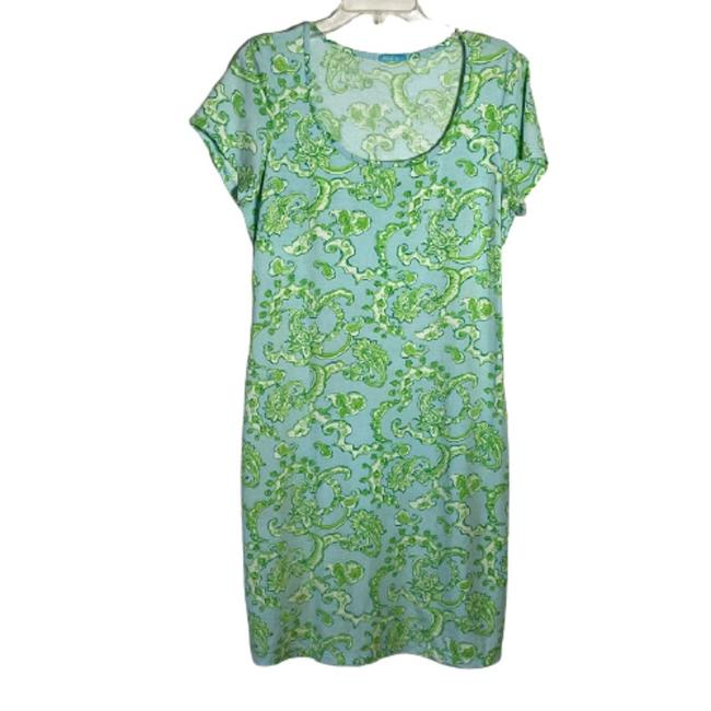 Item - Green Floral Scoop Neck Sleeve T-shirt Short Casual Dress Size 8 (M)
