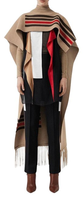 Item - Camel Color Stripe Wool Cashmere 2 Way Blend In Poncho/Cape Size OS (one size)