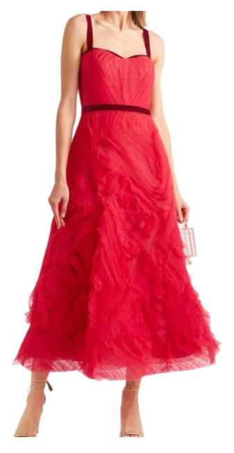 Item - Red Tulle Gown- Tea Lenght Mid-length Formal Dress Size 4 (S)