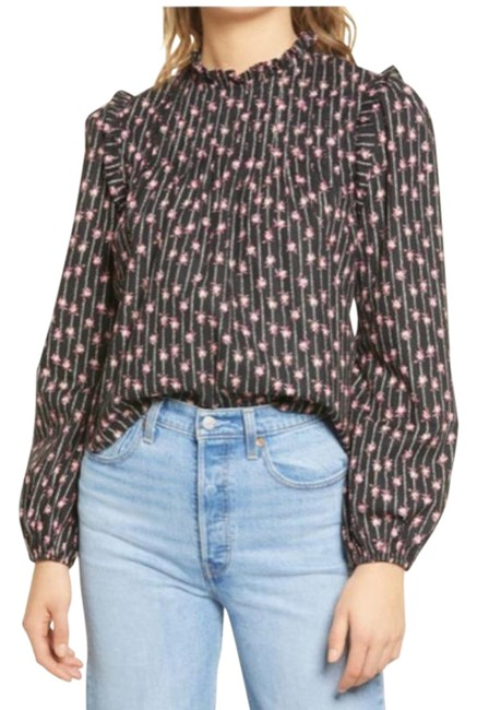 Item - Black Linford Floral Pintuck In Blouse Size 2 (XS)