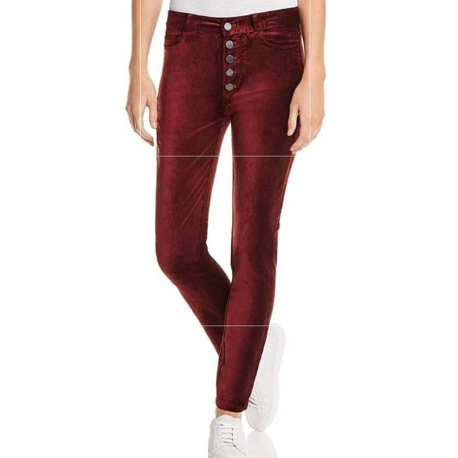 Item - Red Hoxton Velvet Ankle Peg Button Fly Jeans Pants Size 29