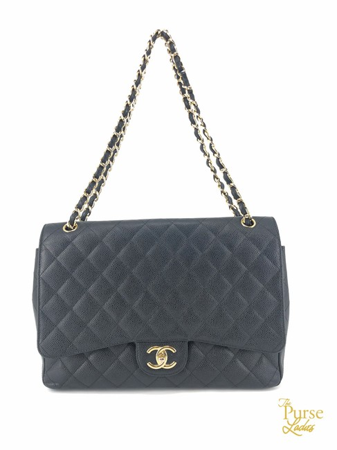 Item - Classic Flap Quilted Caviar Maxi Double #37387 Black Leather Shoulder Bag
