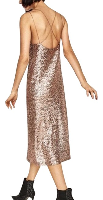 Item - Gold Nwot Sequin with Straps Mid-length Night Out Dress Size 0 (XS)