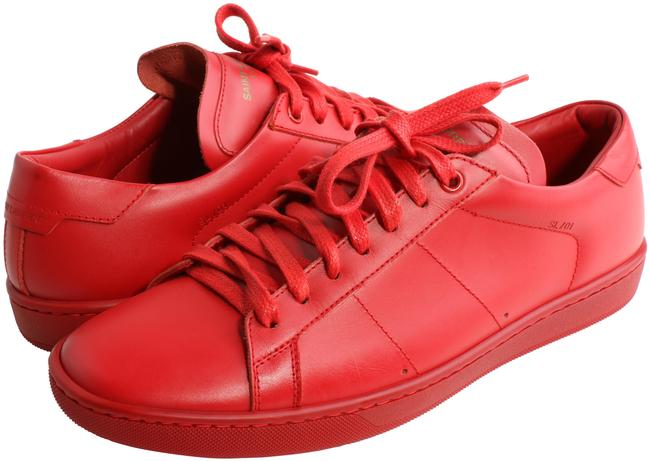 Item - Red Leather Andy Low Top Sneakers Size US 8 Regular (M, B)