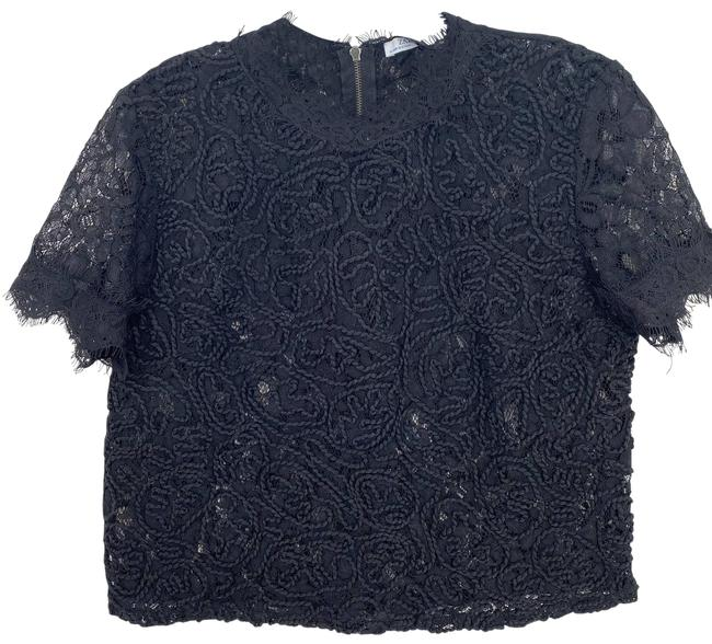 Item - Black Sheer Embroider Cropped M Blouse Size 8 (M)