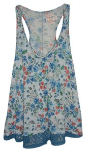 Mudd V-neck Casual Lace Trim Rayon Top Blue and orange floral