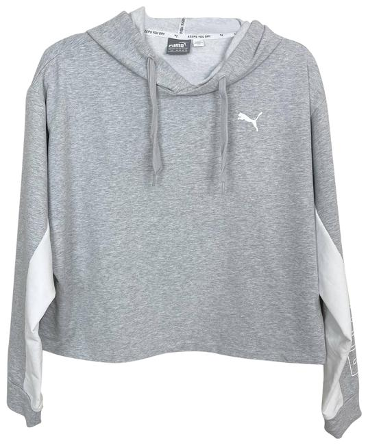 Item - Gray Spellout Sleeve Cropped Hoodie Sweatshirt White Large Activewear Top Size 12 (L)