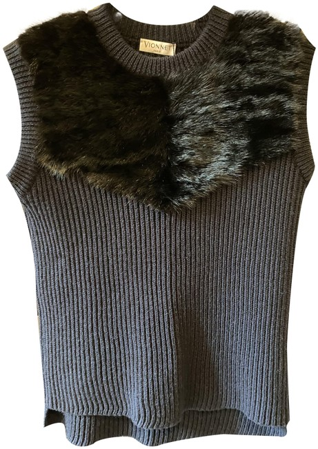 Item - Wool and Mink Knitted Vest Midnight Blue Sweater