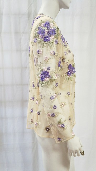 Fe Zandi Couture Open Front Floral Embroidery Topper Rare S 6 Beige, Lilac Jacket