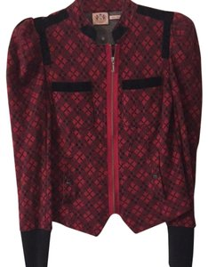 Juicy Couture Cotton Checker Causal Red And Black Jacket
