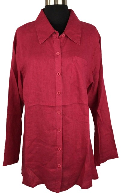 Item - Red S Linen Collared Shirt Long Sleeve Chest Pocket Career Casual Button-down Top Size 6 (S)
