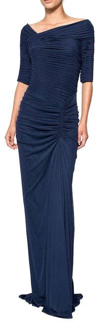 Item - Blue Asymmetrical Ruched Sleeve Gown Formal Dress Size 16 (XL, Plus 0x)