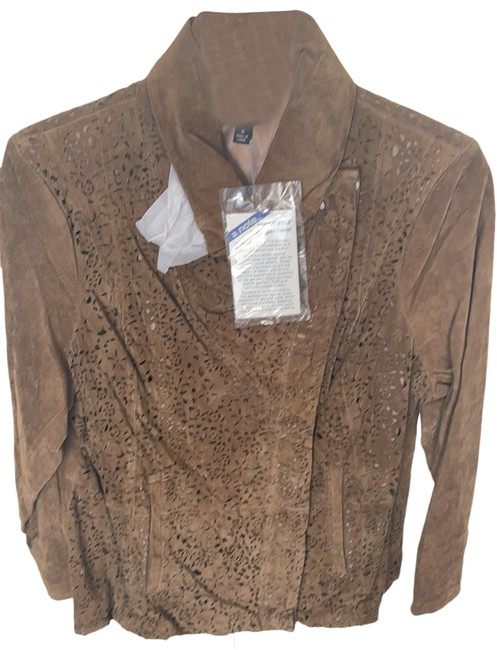 Item - Brown Real Suede Laser Cut Out Embellished with European Collar and Zipper Jacket Size 20 (Plus 1x)