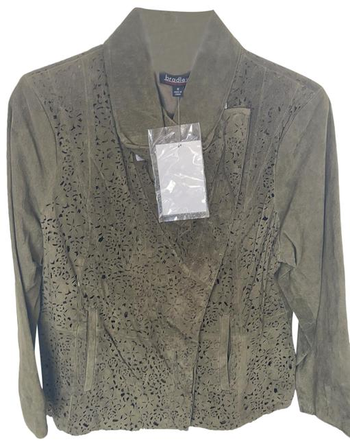 Item - Green Suede Laser Cut Out Embellished with European Collar and Zipper Jacket Size 20 (Plus 1x)