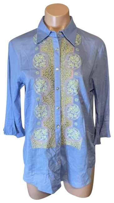 Item - Blue Floral Embroidered Women's Blouse Size 4 (S)